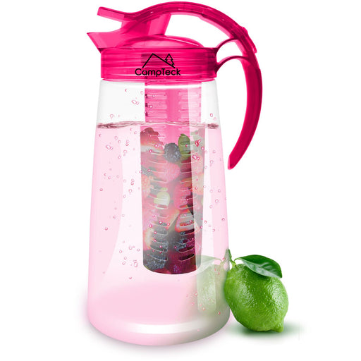 CampTeck 2 Litre 2000ml Fruit Infuser Water Jug Pitcher (BPA Free Tritan Plastic) with Leak Proof, Air Tight Lid + Lock & Handle - Pink