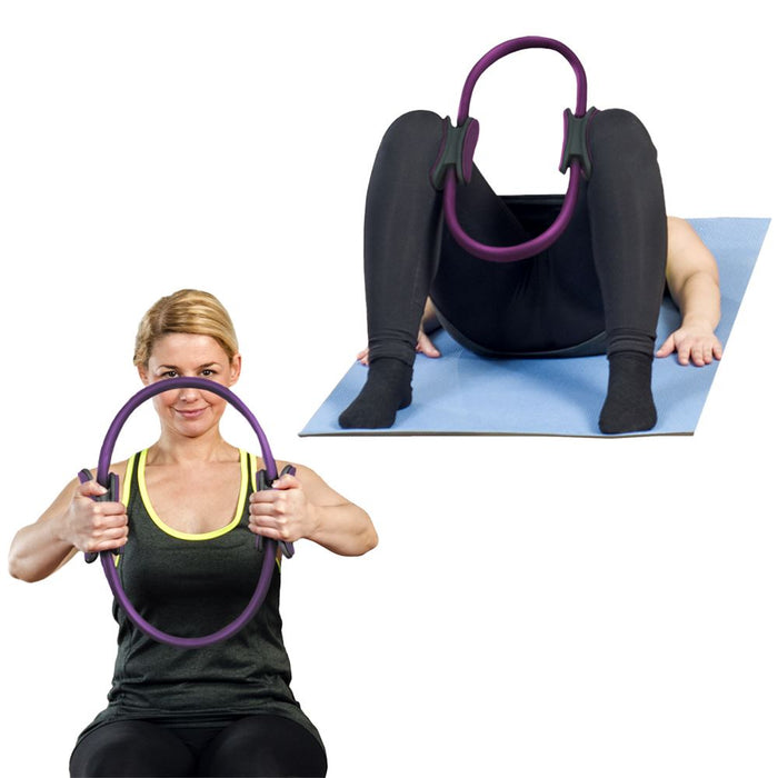 CampTeck Double Handled Pilates Ring - Yoga Gym Fitness Exercise Dual Band Circle