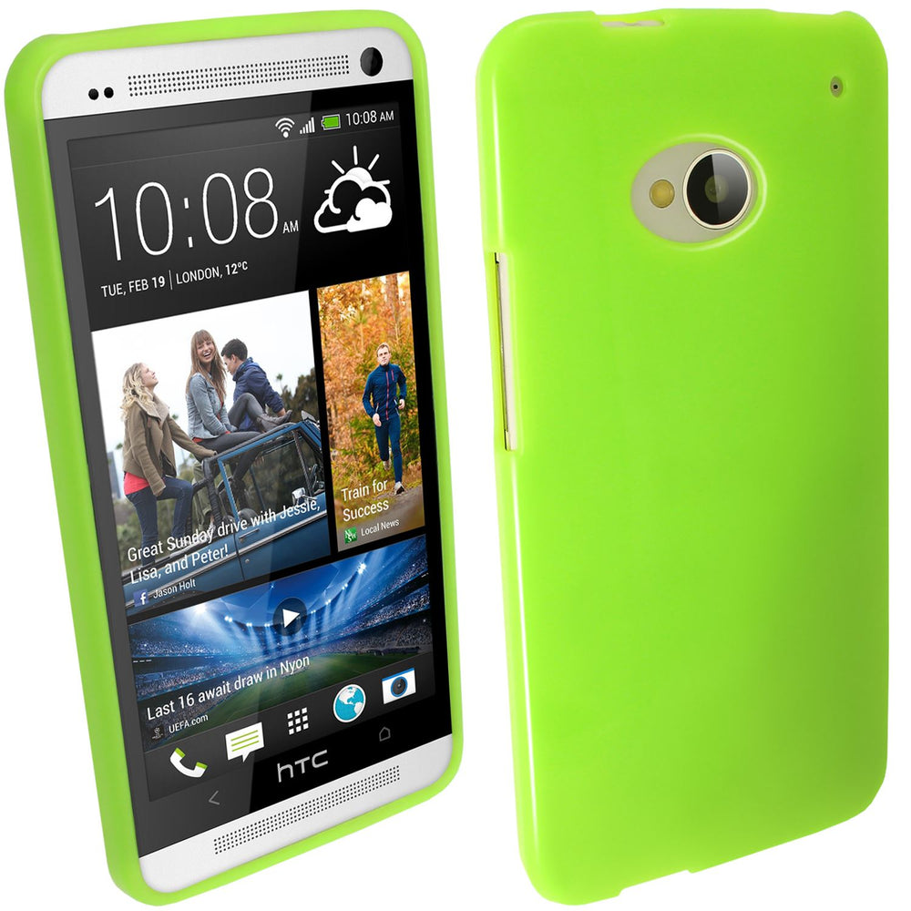 iGadgitz Green Glossy Gel Case for HTC One M7 + Screen Protector