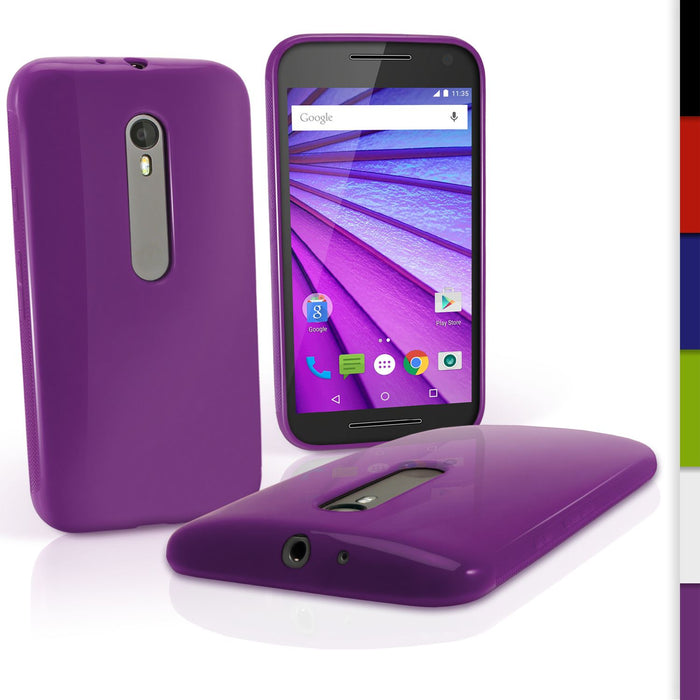 iGadgitz Glossy TPU Gel Case Cover for Motorola Moto G 3rd Generation XT1540 2015 (G3) + Screen Protector