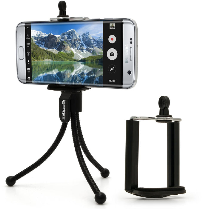 iGadgitz Black Flexible Mini Table Top Tripod with Pocket Clip + Standard Smartphone Holder Mount Bracket Adapter