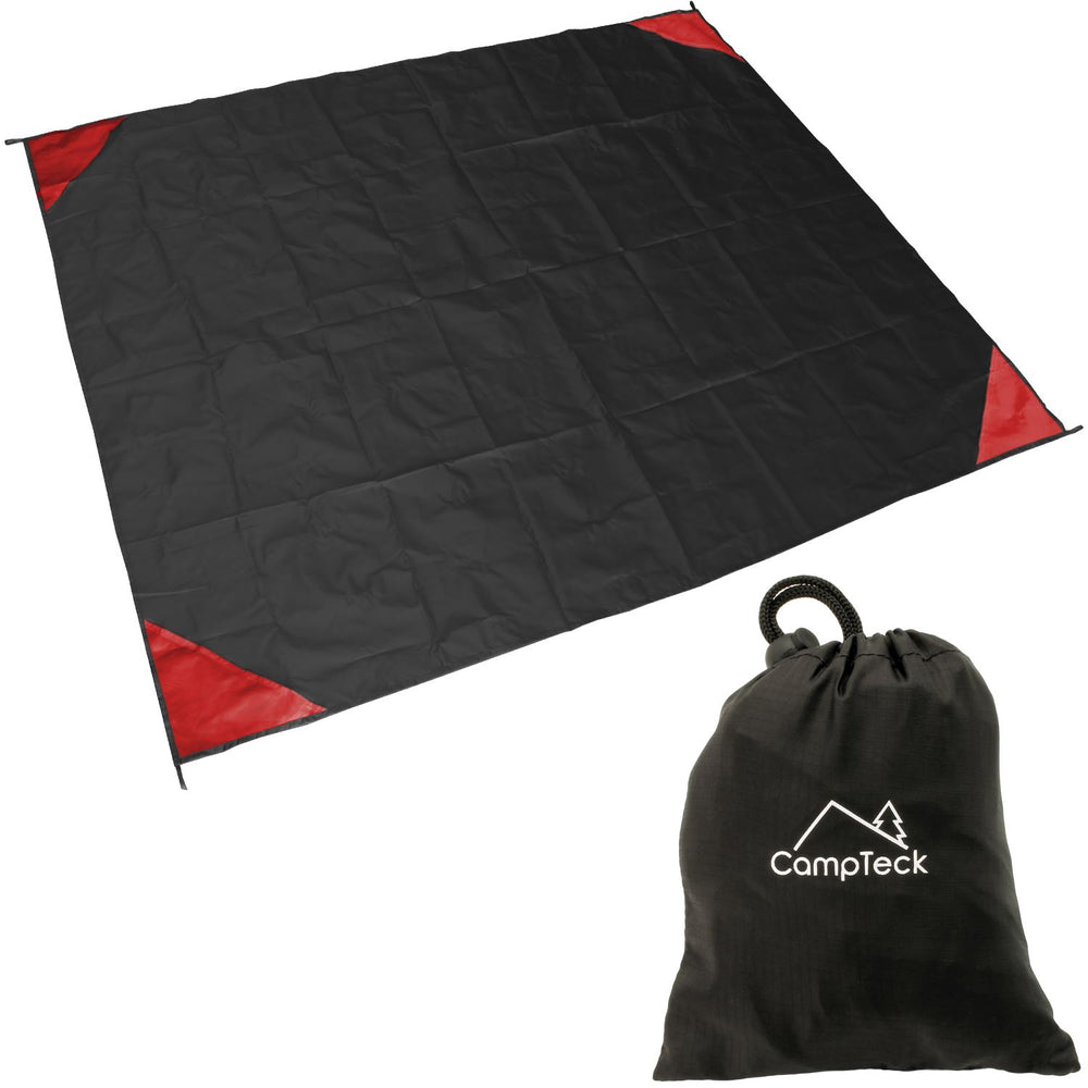 Camptek U6819 Pocket Picnic Blanket (140 x 170cm) Pocket Groundsheet Water Resistant Polyester Beach Blanket for Outdoor, Hiking, Beach, Camping, Fishing, Travel with Carry Pouch - Black