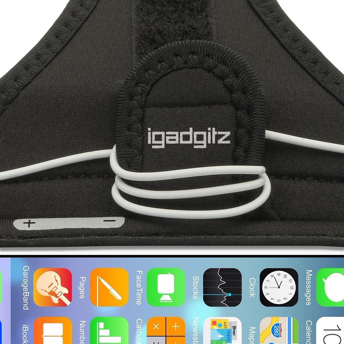 iGadgitz Water Resistant Black Sports Jogging Gym Armband for Apple iPhone 6 & 6S 4.7""