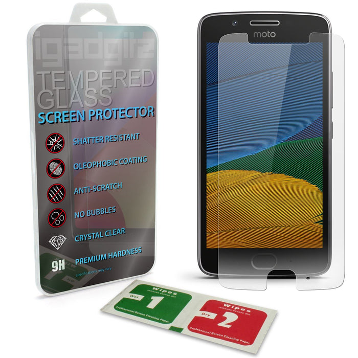 iGadgitz Tempered Glass Screen Protector for Motorola Moto G 5th Generation (2017) Shatterproof 9H Hardness Anti Scratch