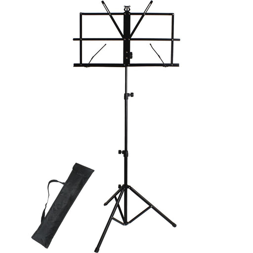 iGadgitz Xtra U6984 Metal Portable Sheet Music Stand Folding Music Holder with Carry Bag - Black