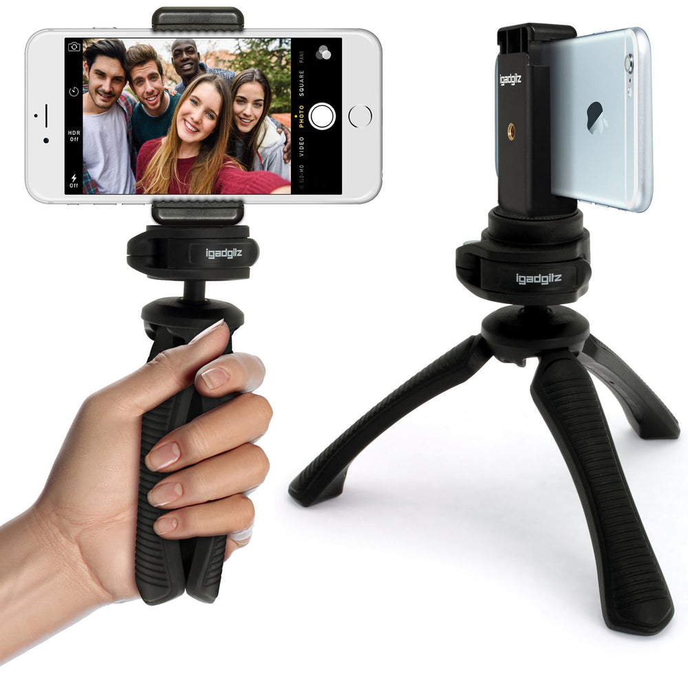 iGadgitz PT310 Mini Table Top Stand Tripod Grip Stabilizer + Universal Smartphone Holder Mount Bracket Adapter – Black