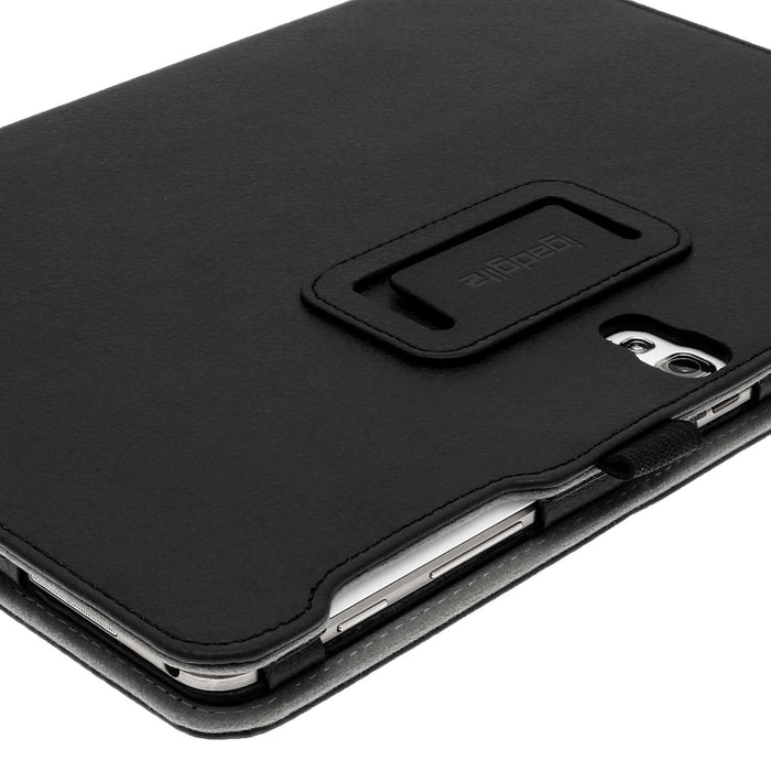 "iGadgitz Premium Folio Black PU Leather Case Cover for Samsung Galaxy Tab S 10.5"" SM-T800 with Auto Sleep/Wake + Stylus Pen Elastic Holder + Multi-Angle Viewing Stand + Screen Protector"