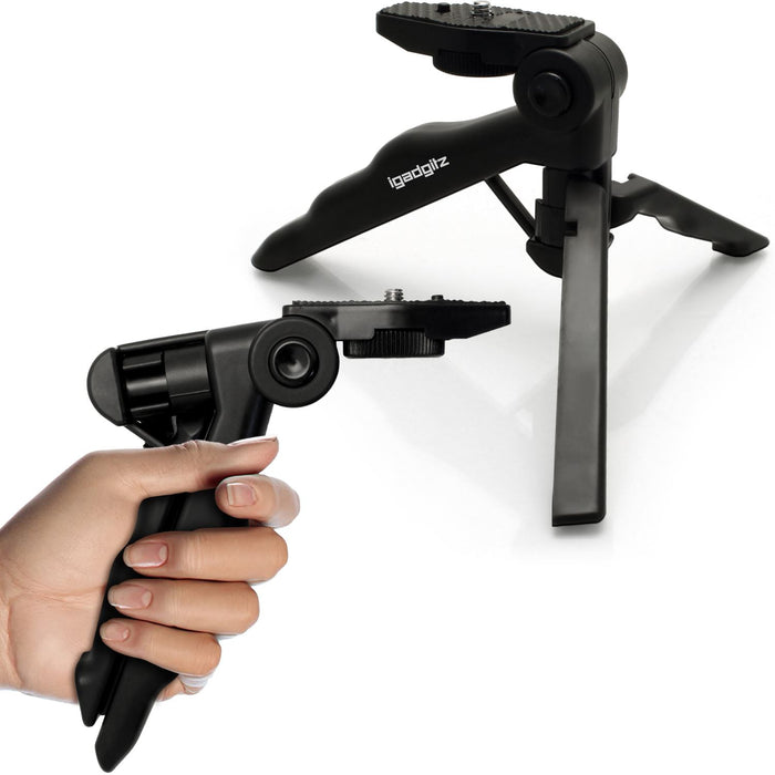 iGadgitz 2 in 1 Pistol Grip Stabilizer and Mini Lightweight Table Top Stand Tripod for Digital Camera, DSLR, & Camcorder