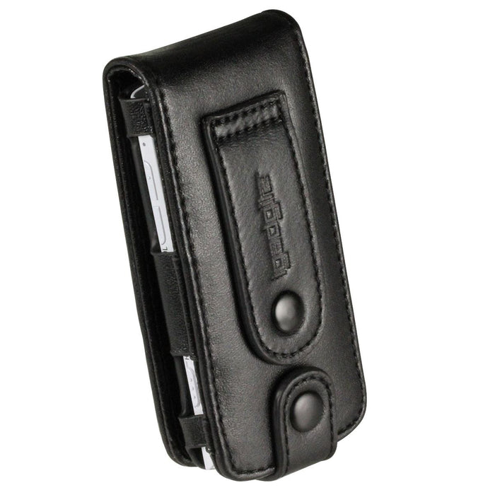 iGadgitz Black Genuine Leather Case Cover for Sony Walkman NWZ-S765 Series Video MP3 Player (NWZ-S765B, NWZ-S765W)