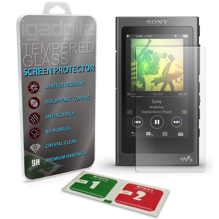 iGadgitz Tempered Glass Screen Protector for Sony Walkman NW-A35 NW-A40 NW-A45 MP3 Player Shatterproof 9H Hardness Anti Scratch