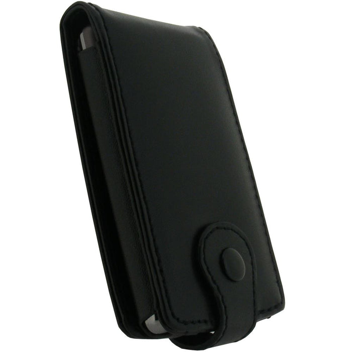iGadgitz Black Genuine Leather Case Cover for Archos 3 Vision 8GB MP3/MP4 Player