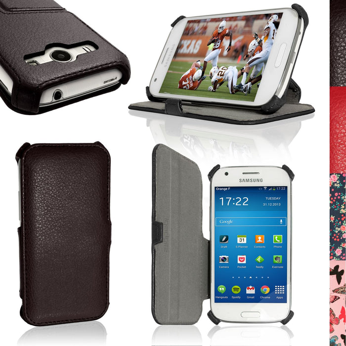 iGadgitz PU Leather Case Cover for Samsung Galaxy Ace 4 SM-GT357FZ with Multi-Angle Viewing Stand + Screen Protector