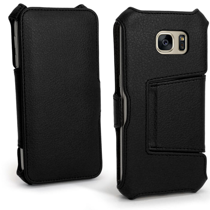 iGadgitz u4563 Folio PU Leather Case Cover for Samsung Galaxy S7 sm-g930 Case With Film – Black