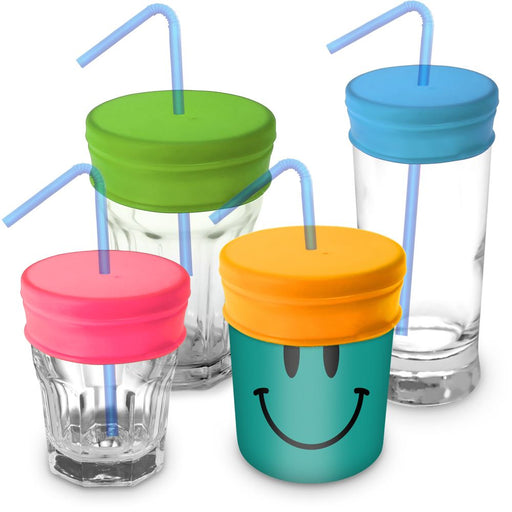 iGadgitz Home Reusable 100% Food Grade BPA Free Soft Silicone Spill-Proof Straw Lids – 4 Pack (Pink Yellow Green Blue)