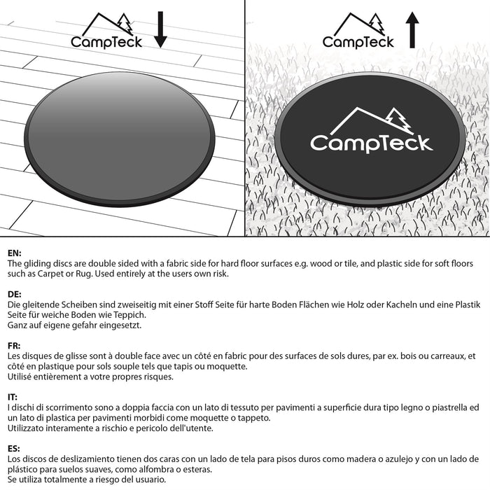 CampTeck 2x Dual Sided Gliding Discs Core Sliders for Home Fitness Abdominal Full Body Exercises – Carpet & Hard Floors
