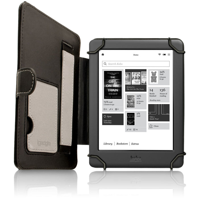 iGadgitz PU Leather Folio Case Cover for Kobo Glo HD, Touch 2, Aura, Aura Edition 2, Glo and Touch with Viewing Stand