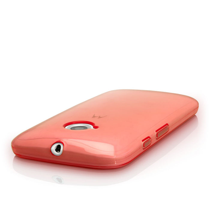 iGadgitz U3640 - Transparent Red Glossy TPU Gel Skin Case Cover for Motorola Moto E 2nd Generation 2015 XT1524  Screen Protector