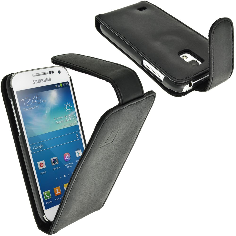 iGadgitz Leather Case for Samsung Galaxy S4 SIV Mini I9190 I9195 + Screen Protector. With Sleep/Wake (various colours)