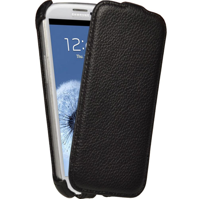 iGadgitz Black Leather Flip Case Cover Holder for Samsung Galaxy S3 III i9300 Android Smartphone Mobile Phone