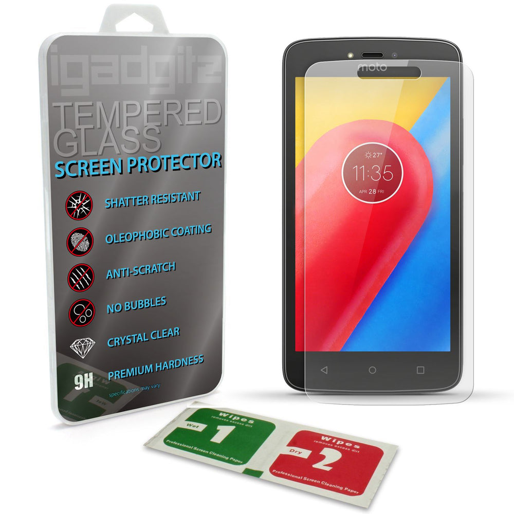 iGadgitz Tempered Glass Screen Protector for Motorola Moto C 2017 (Lenovo C 2017) Shatterproof 9H Hardness Anti Scratch
