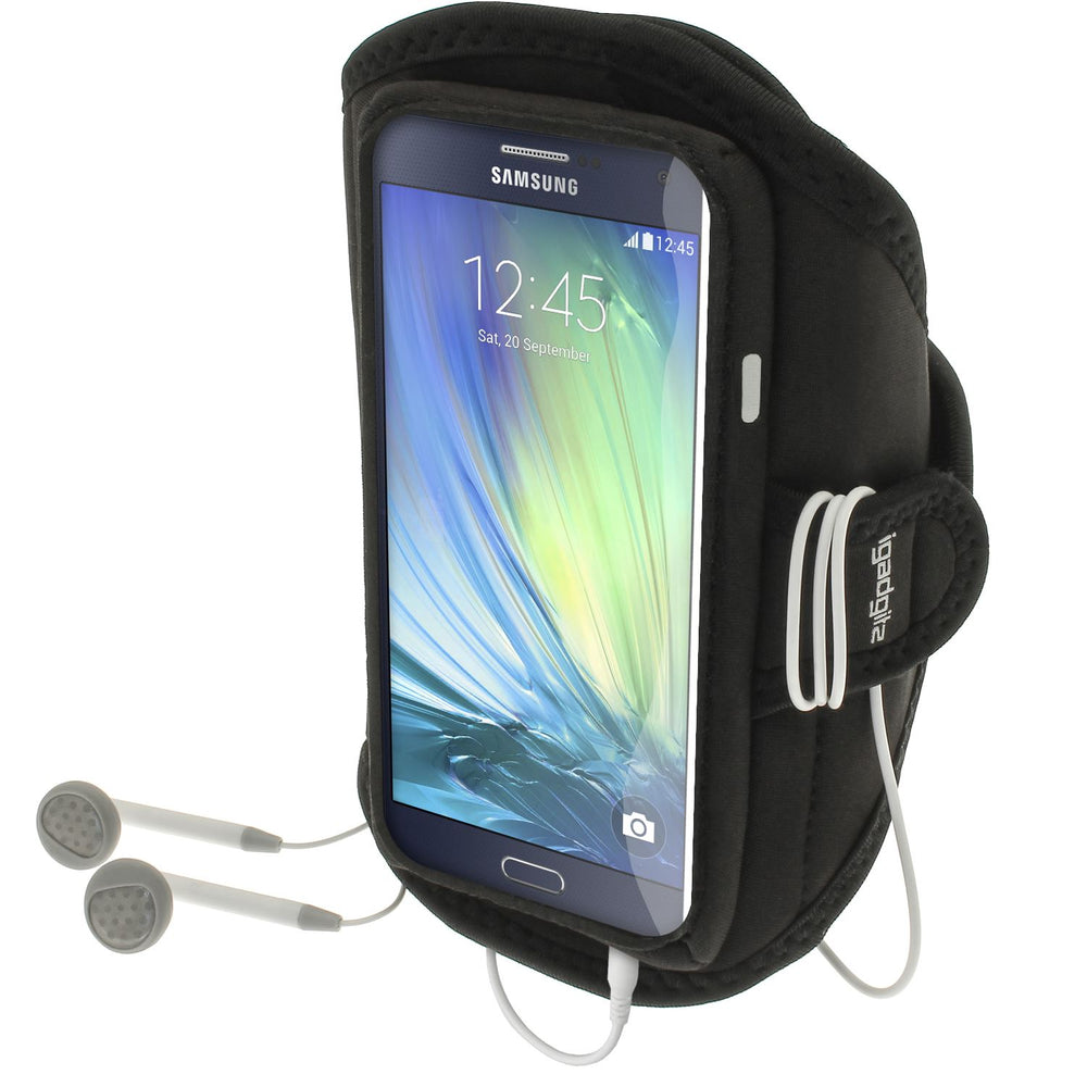 iGadgitz Water Resistant Black Sports Jogging Gym Armband for Samsung Galaxy A3 SM-A300