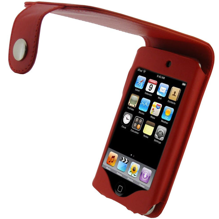 iGadgitz Red PU Leather Case Cover for Apple iPod Touch 2nd & New 3rd Generation 8gb, 16gb, 32gb & 64gb + Belt Clip