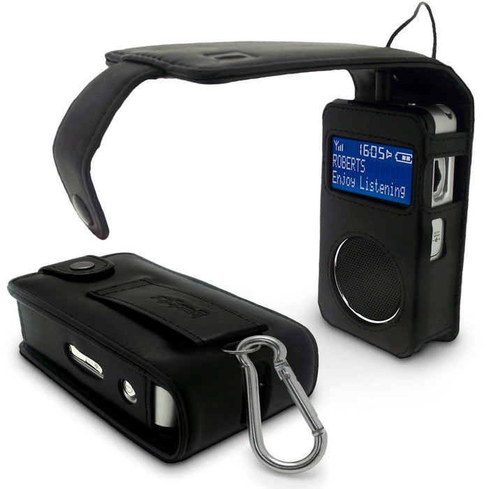 iGadgitz Black Genuine Leather Case Cover Holder for Roberts Sports DAB 2 Radio