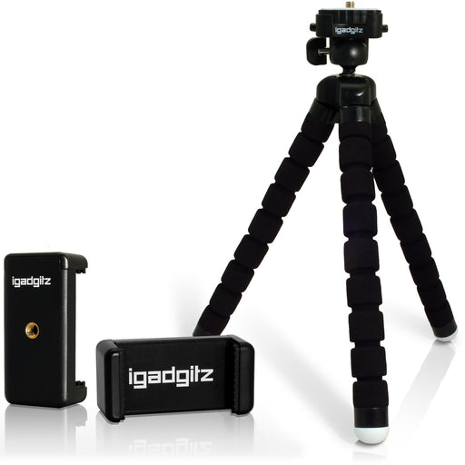 iGadgitz Lightweight Large Universal Flexible Mini Tripod + Phone Holder for SLR DSLR Cameras + quick release - Black