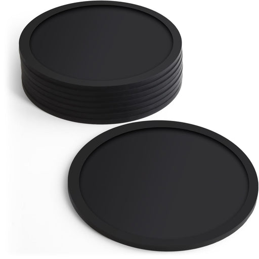 BPA Free Silicone Coasters Non-slip Cup Mats, Pack of 8 - Round Shaped  - Black