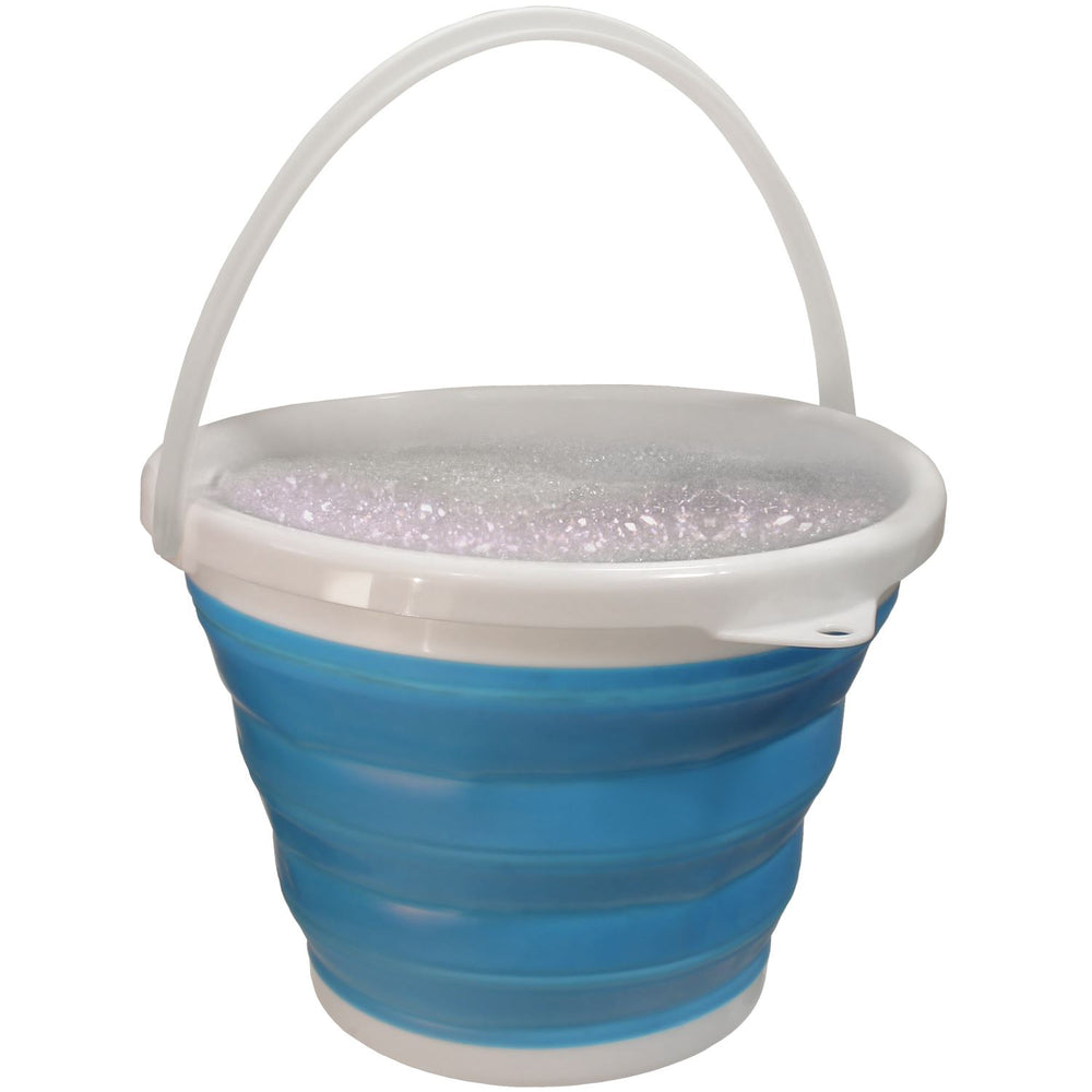 iGadgitz Home U6852 Silicone Collapsible Bucket 10L Folding Bucket for Home Use Outdoor, Camping, Fishing, Travel – Blue