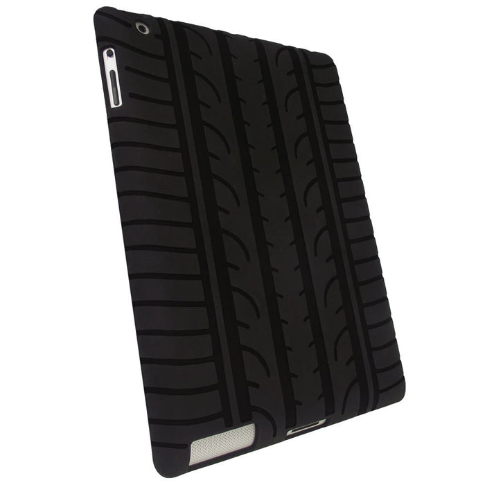 iGadgitz Black Tyre Tread Silicone Case for Apple iPad 2, 3 & 4 with Retina Display 16GB 32GB 64GB + Screen Protector
