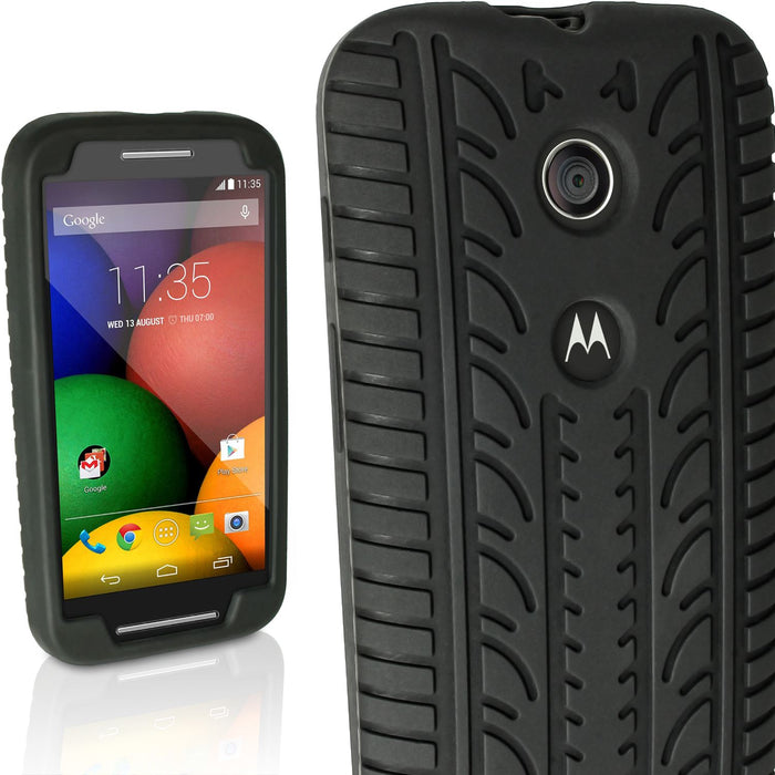 iGadgitz Black Tyre Rubber Silicone Gel Skin Case Cover for Motorola Moto E XT1021 + Screen Protector
