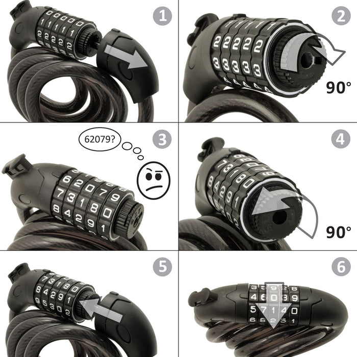 CampTeck 5 Digit Resettable Number Combination Bike Lock Heavy Duty Bike Lock cable for Bicycle, Scooters etc.