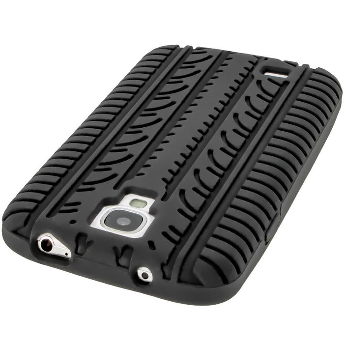 iGadgitz Black Silicone Skin Case Cover with Tyre Tread Design for Samsung Galaxy S4 IV I9500 + Screen Protector
