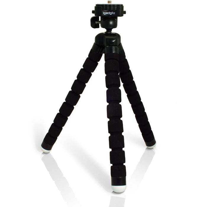 iGadgitz Lightweight Large Universal Flexible Foam Mini Tripod for SLR DSLR Cameras with Quick Release Plate – Black