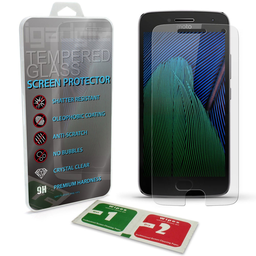 iGadgitz Tempered Glass Screen Protector for Motorola Moto G 5th Generation Plus Shatterproof 9H Hardness Anti Scratch