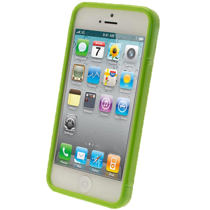 iGadgitz Dual Tone Green Gel Case for Apple iPhone SE, 5S & 5 + Screen Protector (not suitable for 5C)