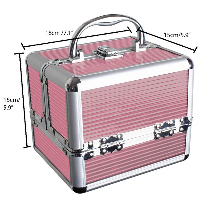 iGadgitz Home Aluminium Make Up Case, Cosmetic Case, Hard Vanity Case, Make Up Box, Beauty Case - 4 x Fold Out Trays, Larger Bottom Compartment & Carry Handle - Small