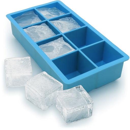 iGadgitz Home Silicone Ice Cube Tray 8 Extra Large Square Food Grade Jumbo Ice Cube Moulds - Pack of 1