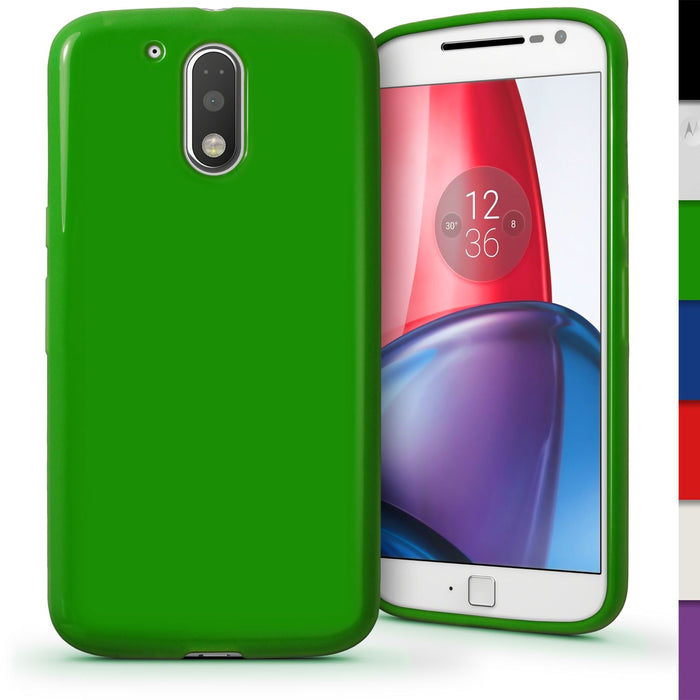 iGadgitz Glossy TPU Gel Skin Case Cover for Motorola Moto G 4th Gen XT1622 (Moto G4) & G4 Plus XT1644 + Screen Protector