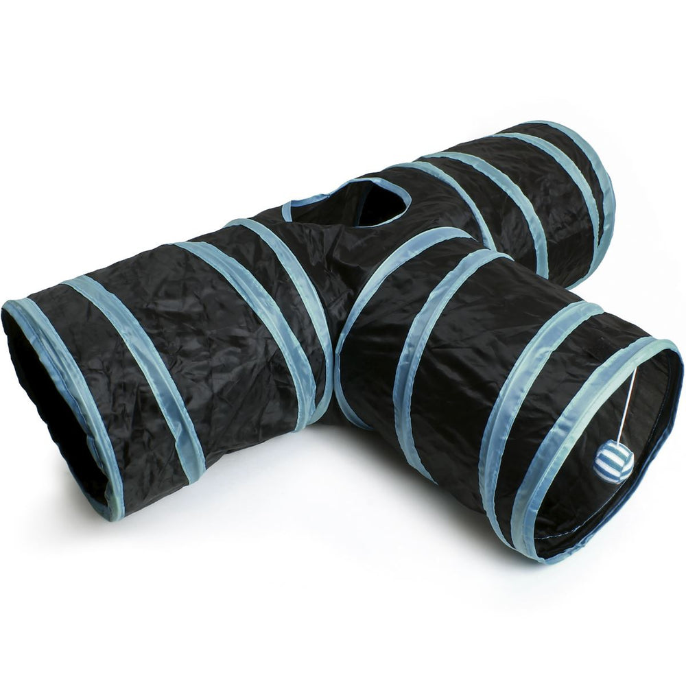 iGadgitz Home U6979 - 3 Way Cat Tunnel Collapsible Pet Tunnel Interactive Rabbit Tunnel with Hanging Ball - Indoor/Outdoor - Black/Blue Trim