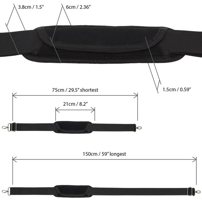 Adjustable Shoulder Strap Universal Replacement Bag Strap with Detachable Pad - Black