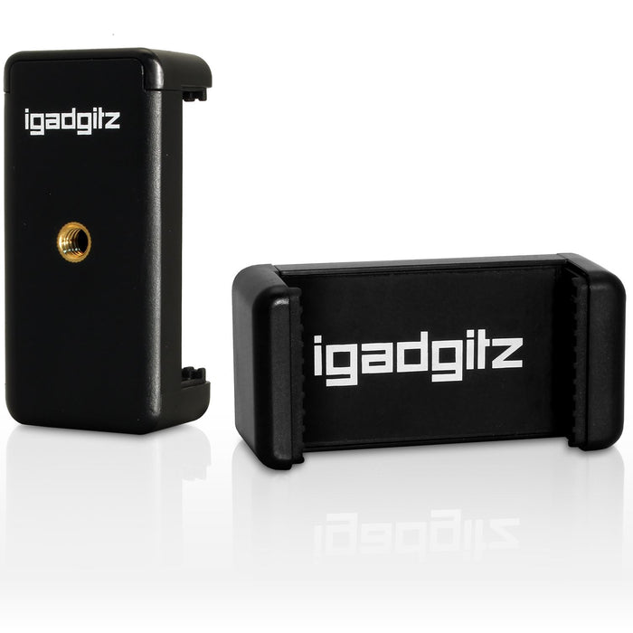 iGadgitz Black Flexible Mini Table Top Tripod with Pocket Clip + Premium Smartphone Holder Mount Bracket Adapter