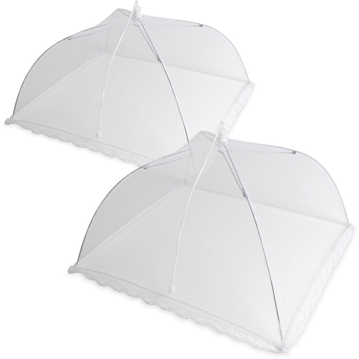 Polyester Mesh Food Covers Collapsible Food Umbrella Reusable Food Net Food Protector, Insect & Bug Screen -  White