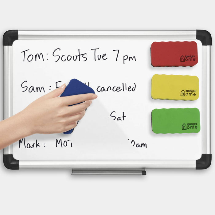 Magnetic Whiteboard Eraser EVA Foam & Felt Whiteboard Rubber Set, (Pack of 4) - Colours: Green, Yellow, Red & Blue