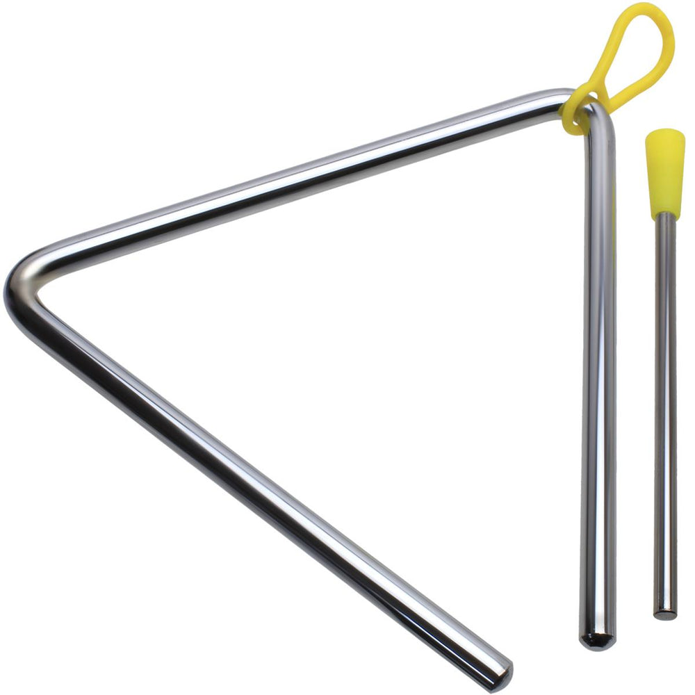 iGadgitz Xtra U7203 Music Triangle Instrument, Percussion Triangle and Beater - Silver and Yellow