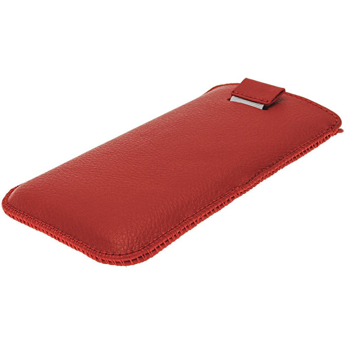 iGadgitz Red Leather Pouch Case Cover for HTC One M7 Android Smartphone Mobile Phone
