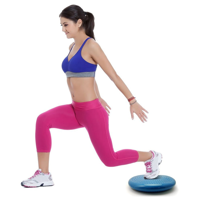 CampTeck Wobble Cushion Inflatable Balance Board with Hand Pump for Core Training, Gym Workouts, Yoga etc – Blue, 32cm