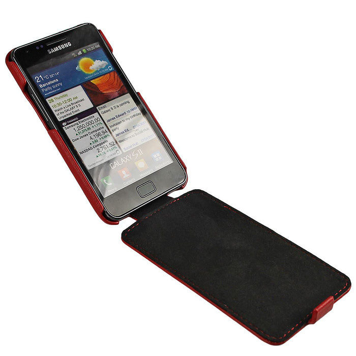 iGadgitz Red Genuine Leather Flip Case Cover Holder for Samsung i9100 Galaxy S2 Android Smartphone Mobile Phone