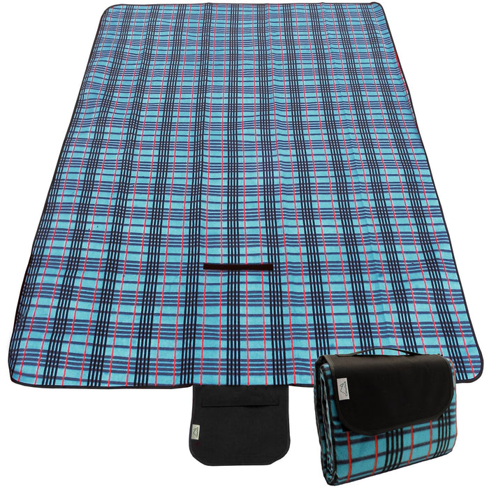 CampTeck Extra Large (200 x 150cm) Folding Picnic Blanket Fleece Water Resistant Backing with Handle - Blue Check
